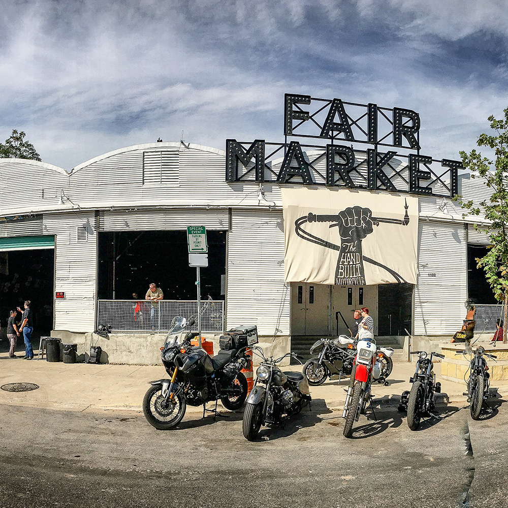 Biker event at a market