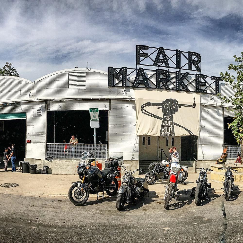 Biker event at a market